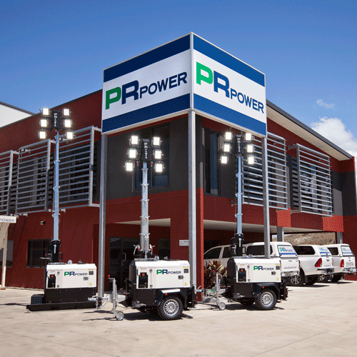 New ECO Lighting Towers out the front of PR Power's QLD Branch